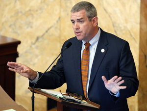 "ADVANCE FOR USE SUNDAY, MARCH 13, 2016 AND THEREAFTER - FILE - In this March 30, 2015 file photo, Mississippi House Speaker Philip Gunn, R-Clinton, speaks at the Capitol in Jackson, Miss. As one of the top Republicans in the Mississippi Legislature, Gunn has refused to release emails or schedules. In denying a request, Gunn wrote that the state's 1983 Public Records Act does not apply to members of the Legislature. Gunn also wrote that disclosing the requested records would endanger the privacy of other legislators and of constituents ""who should be able to expect a private communication with his or her legislator about policy."" (AP Photo/Rogelio V. Solis, File)"